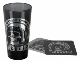 "Verre ""SKULL RIDER TALL GLASS SET"" - HARLEY - DAVIDSON"