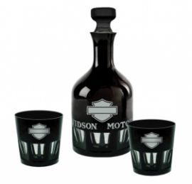 "SILHOUETTE BAR & SHIELD DECANTER SET"" HARLEY DAVIDSON"